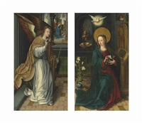the archangel gabriel, with the adoration of the shepherds beyond; the virgin annunciate (pair) by dutch school-southern (16)