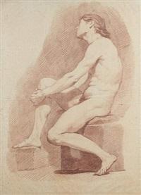 académie d'homme assis, de profil vers la gauche by charles françois hutin