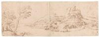 hügelige landschaft mit flusstal, im hintergrund eine burgruine by titian (tiziano vecelli)
