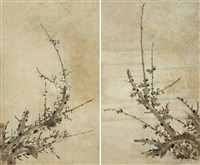 墨梅圖 ume blossoms (2 works) by anonymous-asian