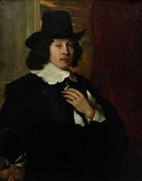 portrait of a gentleman, three-quarter-length, in a black tunic with a lace collar by jacob adriaensz de backer