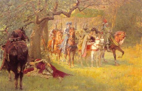 how four queens found sir lancelot sleeping by william frank calderon