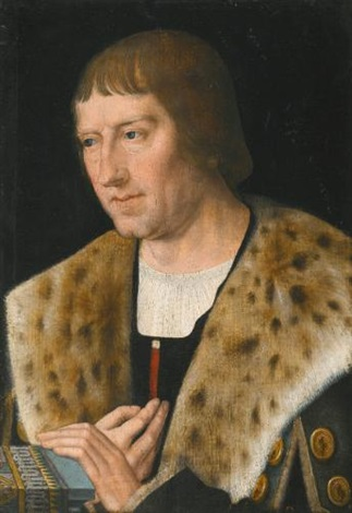 portrait of a man head and shoulders wearing a fur collar by michiel sittow