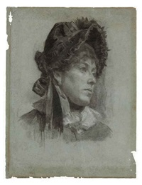 portrait of a woman, wearing a bonnet by ellen day hale
