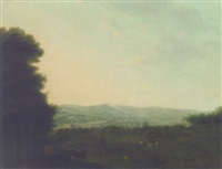an extensive landscape with livestock in the foreground and a town beyond by daniel ashford