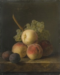 nature morte aux pêches, prunes et grappe de raisin blanc sur un entablement de marbre by jan frans van dael