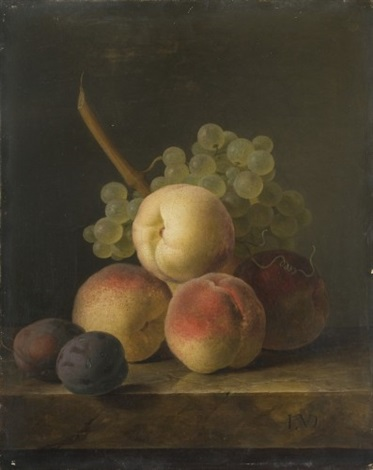 nature morte aux pêches prunes et grappe de raisin blanc sur un entablement de marbre by jan frans van dael
