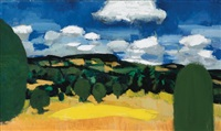 landscape with clouds by bernard langlais