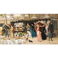 marché aux fleurs à la madeleine, paris by ladislaus bakalowicz