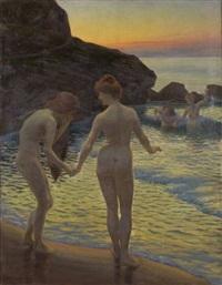 baigneuses, un soir à belle-isle by henry bouvet