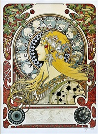 sun sign by alphonse mucha