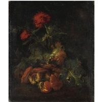 natura morta di fiori e funghi by niccolino van houbraken