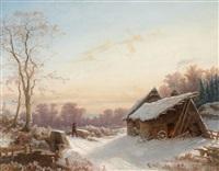 winterlandschaft mit bauernhaus an einer brücke by carl dahl