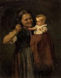 großmutter füttert das enkelkind by adolf dressler