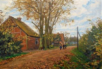 children on a village road by julius christian rehder