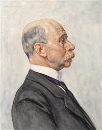 portret van nicolaas sybe hoekstra (+ portret van jacoba vater, 2 works) by hendrik johannes haverman
