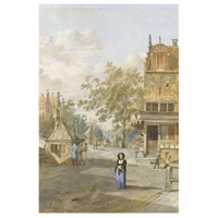 street scene, with figures by a bridge over a canal by johannes huibert (hendric) prins
