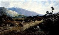 lumber cart on a path in an extensive landscape by enrique casanovas y astorza