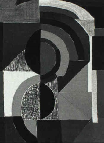 Abstract Composition With Circles Squares And Rectangles By