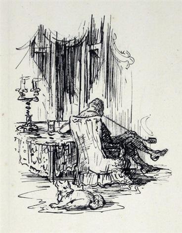 sitzender mann im sessel by alfred kubin