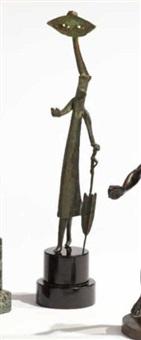 figure of a woman holding an umbrella by guillermo silva santamaria