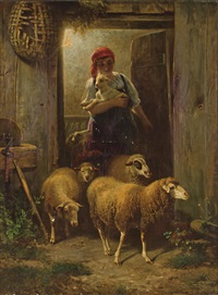 shepardess and her flock by johann baptist hofner
