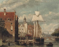 a view of amsterdam in summer by johannes frederik hulk the elder