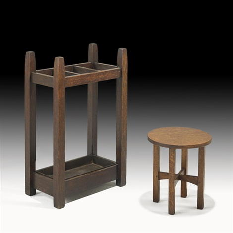 umbrella stand and tabouret by gustav stickley
