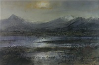 the peak of cnicht and the moelwyns mountain range, from across the glaslyn river, north wales by william selwyn