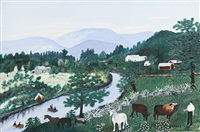 at the bend of the river by grandma moses