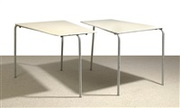 asymmetrical garden tables (pair) by julius jirasek