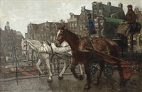 eenhoornsluis; a view of the prinsengracht and the noorderkerk seen from the eenhoornsluis, amsterdam by george hendrik breitner