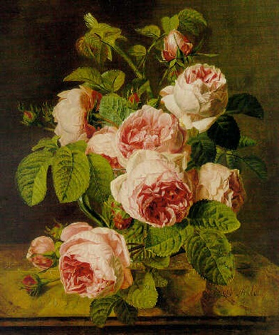 pink roses on a marble ledge by iphigénie milet mureau