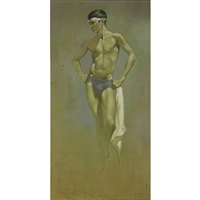 standing athlete with towel by robert r. bliss