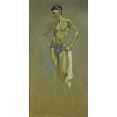 standing athlete with towel by robert r bliss
