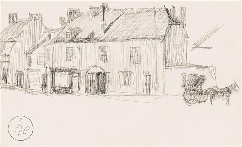 maisons avec cheval et calèche - paysages (2 works) by henri evenepoel