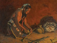 pottery maker by firelight by eanger irving couse