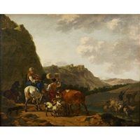 italianate pastoral with shepherd family herding farm animals by job adriaensz berckheyde