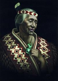 portrait of a maori elder in cloak with tiki by charles mcphee