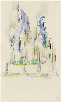 groupe d'arbres (+ deux bouteilles sur une table, verso) by paul cézanne
