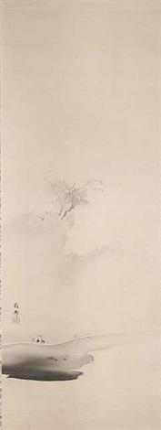monochrome malerei mit reiter in einer landschaft by hashimoto gaho