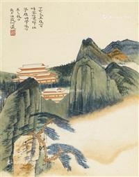 山水楼阁 立轴 设色纸本 by he haixia