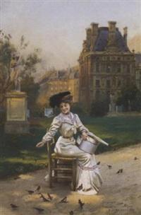elégante au jardin des tuileries by basile lemeunier