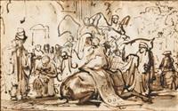 tobias taking leave of raguel (tobias 10: 11-13) by ferdinand bol
