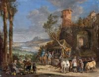 scène de marché à l'entrée d'un village fortifié by peter gysels