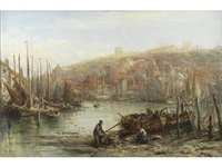 sorting the catch, whitby (+ fisherfolk on the harbour wall; pair) by william edward webb