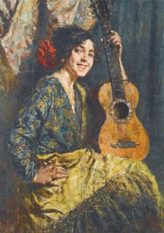 gyspy girl with a guitar by antonio mancini