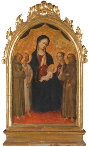 the madonna and child seated flanked by saint francis of assisi and another franciscan saint saints dominic and barbara by italian school florentine 15