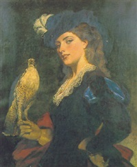hawking, a young victorian lady with a hawk by thomas davidson