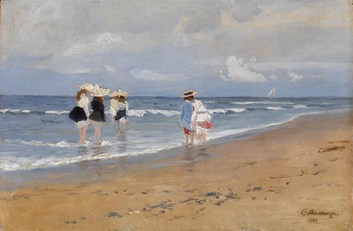 girls paddling at the seaside by evgeniy ivanovich stolitsa